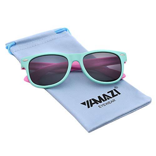YAMAZI Kids Polarized Sunglasses Sports Fashion For Boys And Girls Mirrored Lens (Mint GreenΠnk, Gray)]()