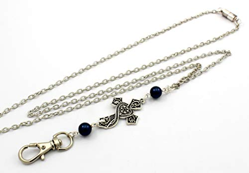 Women's Fashion Lanyard Necklace for ID Badge Holders 32 Inch w/Cross Night Blue Pearls and Rear Magnetic Break Away Clasp