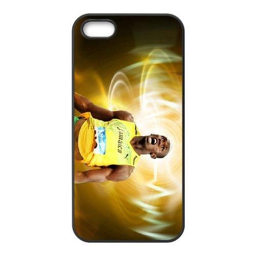 Athletic Superman Usain Bolt coque iPhone 5 5S cellulaire cas coque de téléphone cas téléphone cellulaire noir couvercle EOKXLLNCD21777