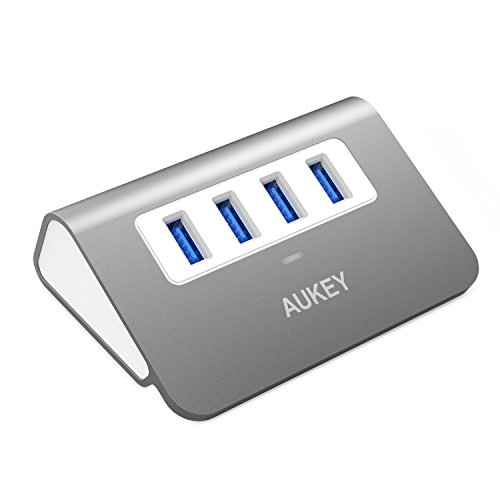 AUKEY USB Hub 3.0, Portable Aluminum 4 Port USB 3.0 Data Hub with 1.6ft USB Cable for MacBook Air, Mac mini, iMac, Laptop, PC, USB Flash Drives, HDD Hard Drive (Grey)