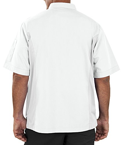 Men's Short Sleeve Chef Coat with Mesh Sides (XS-3X, 2 Colors) (Large, White) by ChefUniforms.com (Image #2)