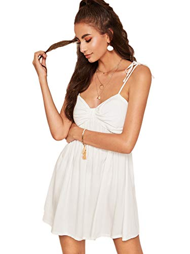 Verdusa Women's Spaghetti Strap Shirred Bustier Flared Cami Dress White - Strap Spaghetti Dress Shirred