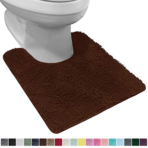 Gorilla Grip Original Shaggy Chenille Oval U-Shape Contoured Mat for Base of Toilet, 22.5x19.5 Size, Machine Wash and Dry, Soft Plush Absorbent Contour Carpet Mats for Bathroom Toilets, Brown