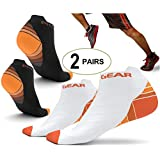 Physix Gear Sport 2 Pairs Running Socks with Plantar Fasciitis Support for Men & Women - Best Compression Socks - No Show Low Cut Ankle Socks Boost Stamina Circulation & Recovery (ORNG BLK L/XL)