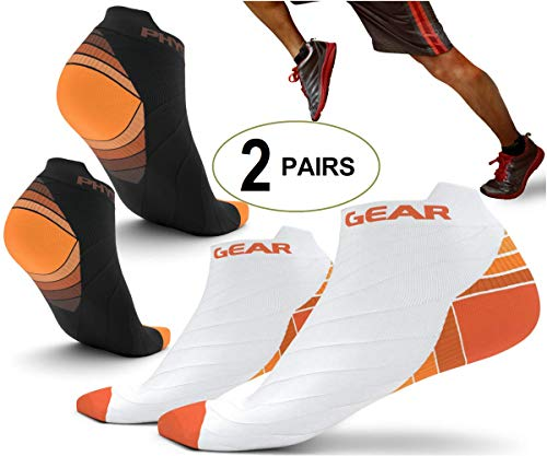 Physix Gear Sport 2 Pairs Running Socks with Plantar Fasciitis Support for...
