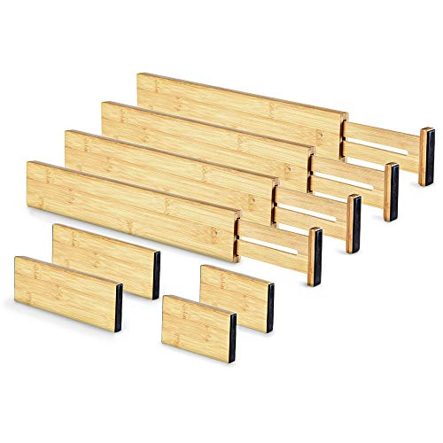 Ecellence - Set of 8 Bamboo drawer divider - 4 long dividers, 4 short dividers, 4 small plugs - Kitchen & Utensil Drawer Organizer - Eco Friendly Bamboo Kitchen, Bedroom, Nursery or Bathroom Organiser