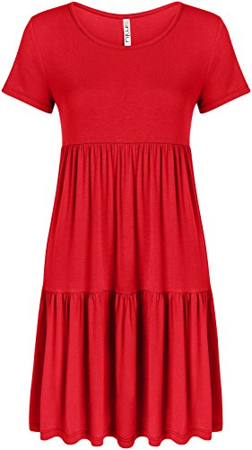 - Womens Red Dress Plus Size and Reg Red Summer Dress Red Short Sleeve Tshirt Dress, Red, Small