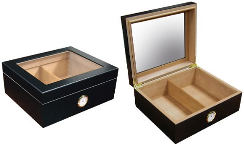 50 Count Cigars Glasstop Deep Black Humidor Cutters Lighter Cigar Caddy Gift Set & Calibration Kit ashtray by The Executive (Image #2)