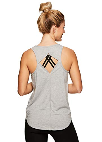 RBX Active Women's Open Keyhole Running Workout Yoga Tank Top S-19 Grey L