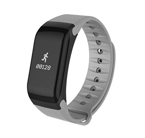 Smart Bracelet Sports Pedometer Blood Pressure Blood Oxygen Heart Rate Sleep Health Monitor Bluetooth Smart Watch , grey by GJX