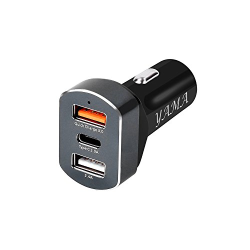 YAMA Quick Charge 3.0 & USB Type-C 36W 3-Port USB Car Charger,PowerDrive+ 4 for Galaxy S7/S6/Edge/Plus, Note 5/4 and PowerIQ for iPhone 7/6s/Plus, iPad Pro/Air 2/mini, LG, Nexus, HTC and More
