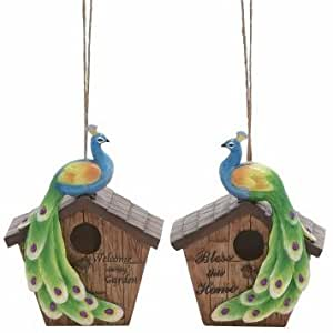 Colorful Peacock Bird House, 9-inch, (1-pc at Random), Home Garden