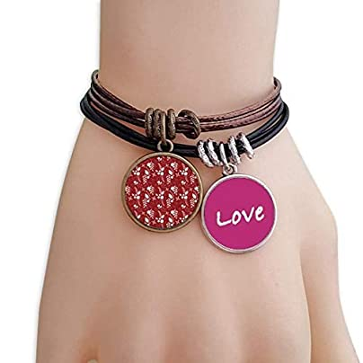 Metftus Red Pattern White Decoration Christmas Love Bracelet Leather Rope Wristband Couple Set Estimated Price -