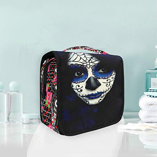 Toiletry Bag Strange Chicken Characters Red Polka Dot Pink Rose Piano And Music Guy Sugar Skull Makeup Hanging Organizer Bag Wash Gargle Bag Cosmetic Bag Portable Makeup Pouch with Hanging -