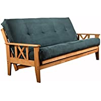 Eldorado Futon Set Hardwood Frame Full Size w/ 8 Inch Coil Mattress Sofa Bed Choice to Add Drawer Set (Blue Matt and Frame Only)