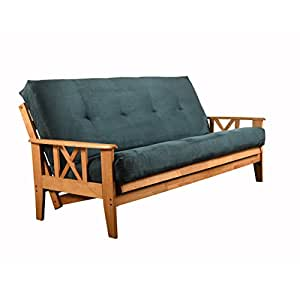 Eldorado Futon Set Hardwood Frame Full Size w/ 8 Inch Coil Mattress Sofa Bed Choice to Add Drawer Set (Blue Matt and Frame Only)