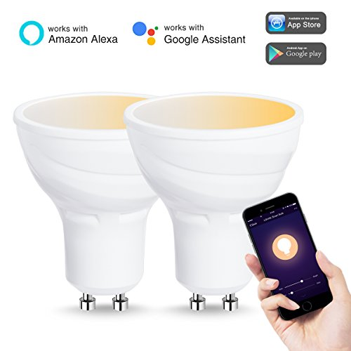 LOHAS Smart Light Bulb, LED GU10 Base, WiFi Light, Tunable White(2000K-6500K), Work with Amazon Alexa and Google Home, 50W Halogen Bulb Equivalent(5W), Smart Phone Control Bulbs(2 Pack)