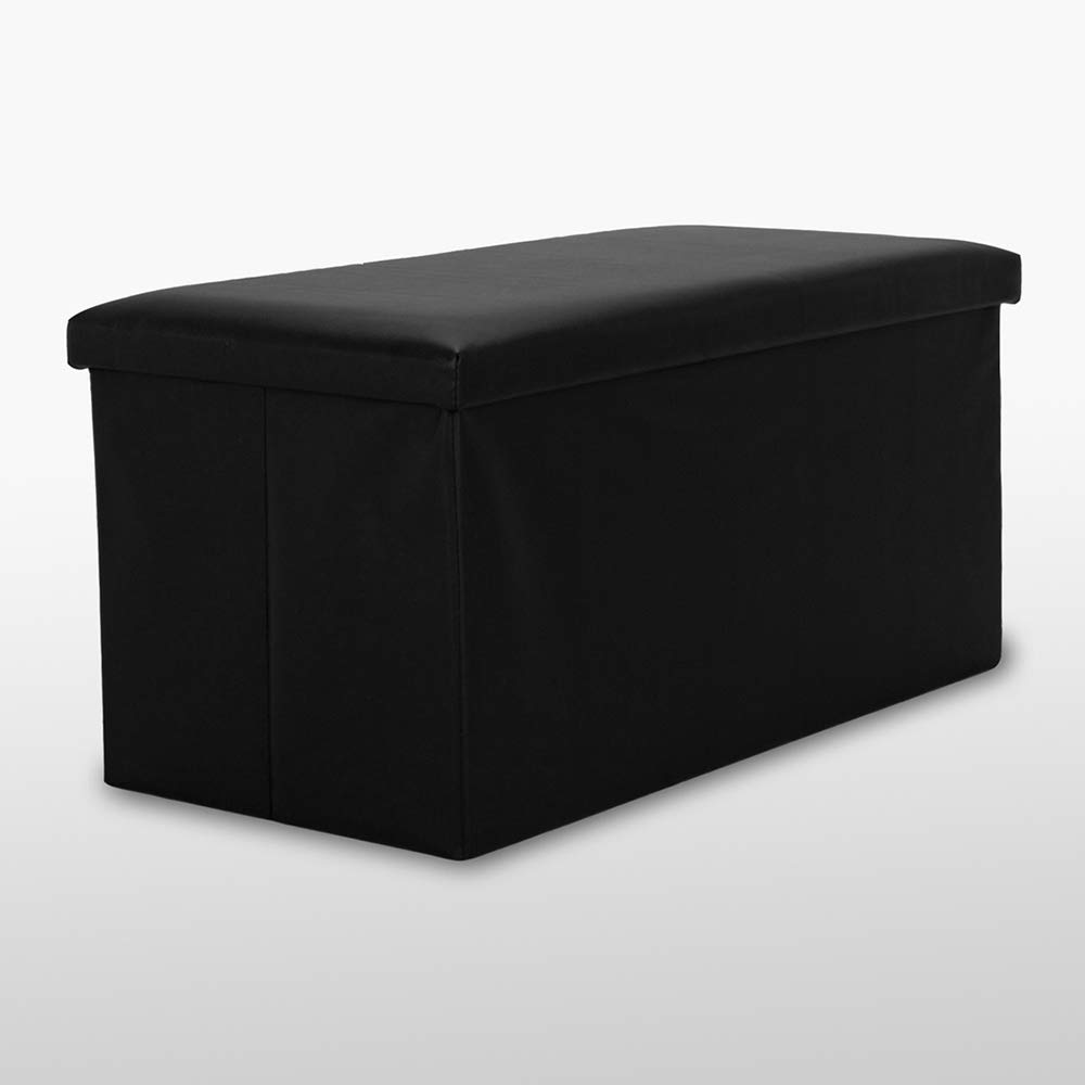 low priced a4187 eead1 LARGE BLACK FAUX LEATHER LUXURY OTTOMAN POUFFE STOOL FOLDING STORAGE BOX  COLLAPSIBLE