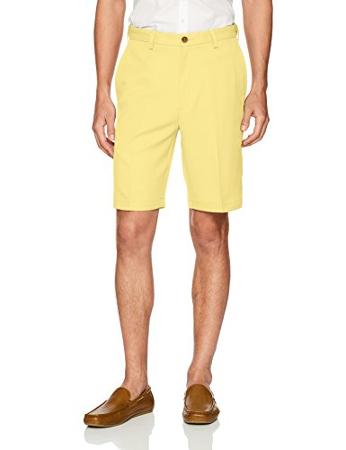 Haggar Men's Cool 18 Pro Straight Fit Stretch Solid Flat Front Short, Light Yellow, 38 (Shorts Stretch Yellow)