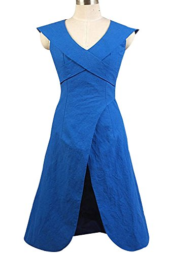 Daenerys Costume Fabric (Ya-cos Halloween Masquerade Daenerys Targaryen Linen Blue Dress Cosplay Costume)