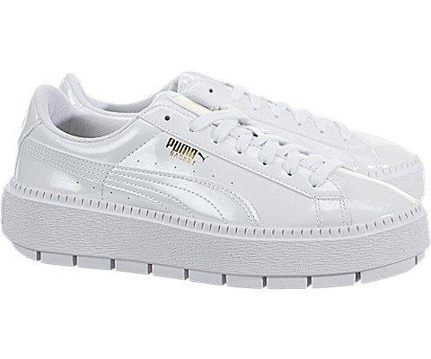 PUMA Women's Basket Platform Trace Sneakers, White, 7.5 B(M) US
