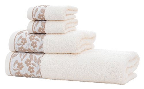 HYGGE Premium 100% Turkish Cotton Towel Set with Floral Jacquard; 1 Bath Towel (27'' x 56''); 1 Hand Towel (19'' x 32''); 2 Washcloths (12'' x 12'') (Cream) by HYGGE (Image #1)