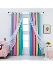 """Drewin Rainbow Blackout Curtains for Girls Bedroom Star Hollow Out Window Curtain 2 in 1 Layer Sheer Curtains Voile Drapes 2 Panels, Rainbow 52""""x84"""""""