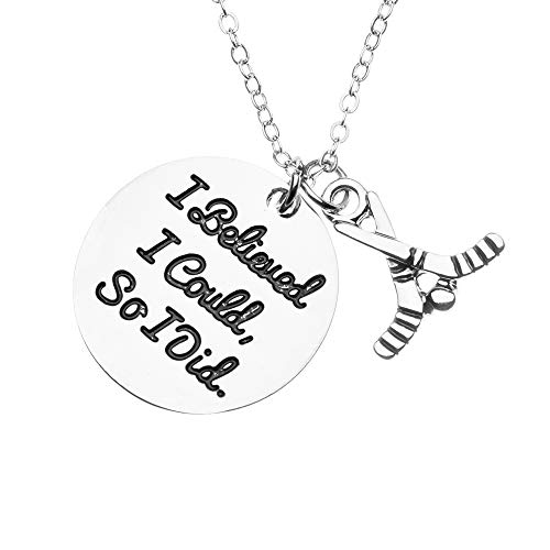 Sportybella Hockey Charm Necklace, I Believed I Could So I Did Jewelry, Gift for Female Hockey Players (Best Female Hockey Player)