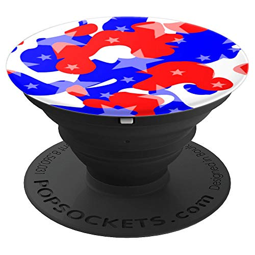 Pedestal Style Cluster - Red White Blue Camo Stars Star Cluster Cool American Flag - PopSockets Grip and Stand for Phones and Tablets