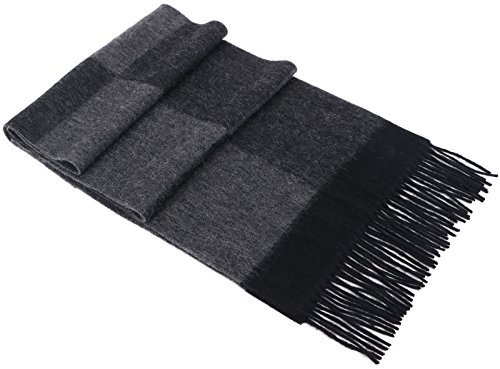 Luxurious Men's Cashmere Scarf Wraps Shawls Stole w/ Gift Box, 64.5