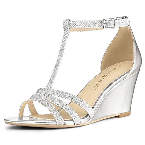 Allegra K Women's Glitter T-Strap Low Wedges Heel Silver Sandals - 6 M US