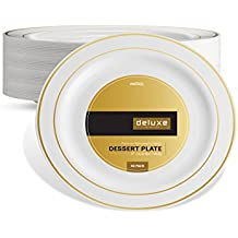 DELUXE PLASTIC PARTY DISPOSABLE PLATES | 6 Inch Hard Wedding Dessert Plates | White with Gold Rim, 40 Pack | Elegant & Fancy Heavy Duty Party Supplies Plates for all Holidays & Occasions