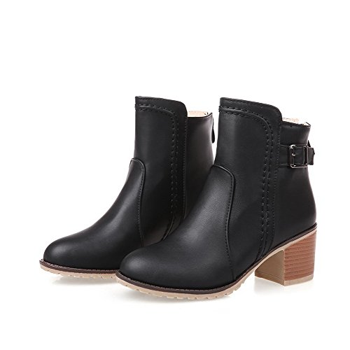 AmoonyFashion Heels Soft Round Toe Black Material Solid Kitten Closed Zipper Women's Boots r0Agwr