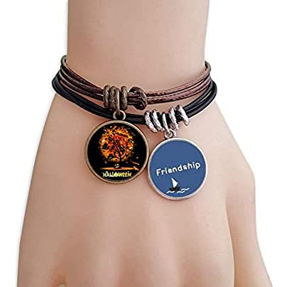 Halloween Cartoon Tree Pattern Friendship Bracelet Leather Rope Wristband Couple Set Estimated Price -