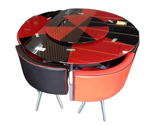 Sk Creation Dining Table Set Red And Black 4 Seater Buy Online In Macedonia At Desertcart Com Productid 180568693