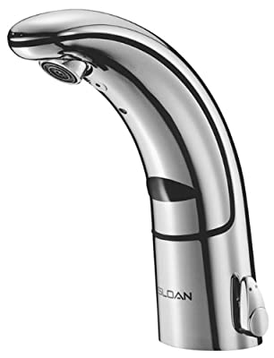 Sloan Valve EAF-150-ISM Optima IQ Battery Operated Sensor Activated Electronic Hand Washing Faucet with Integral Spout Temperature Mixer, Chrome