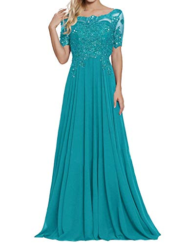 tutu.vivi Appliques Beaded Chiffon Mother of The Bride Dress Short Sleeves Lace Long Formal Evening Gowns Jade Size18W