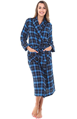 Alexander Del Rossa Womens Flannel Robe, Lightweight Cotton Bathrobe