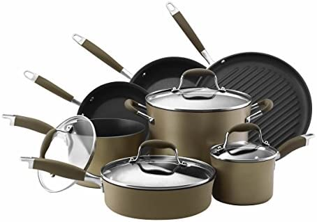 Anolon 82676 11-Piece Hard Anodized Aluminum Cookware Set, Gray