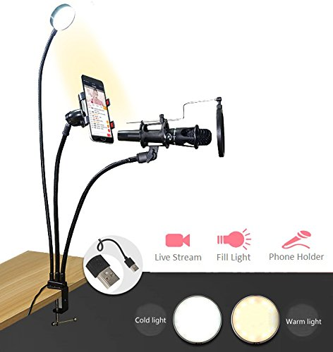 JFtown 3 in 1 Selfie Ring Light Tripod with Microphone & Cellphone Holder Stand for Live Stream Broadcast, 2 Lighting Color Adjustment Clip on Lazy Bracket