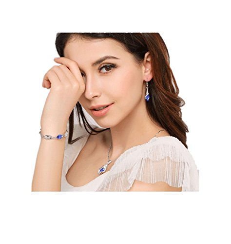 RuSong Platinum-plated Fashion Jewelry Set with Imported Crystal Element with 6 Colors Type Blue