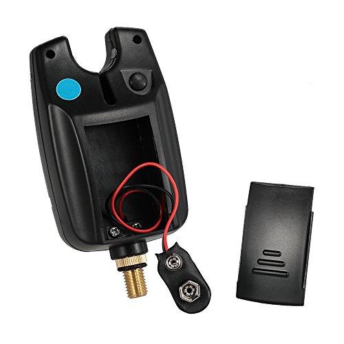 lixada 6LEDs Angeln Alarm Wasserdicht Verstellbarer Klang Volumen Empfindlichkeit Sound Alert Bissanzeiger für Karpfenangeln Blau UP4o06