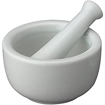 HIC Mortar and Pestle Spice Herb Grinder Pill Crusher Set, Fine-Quality Porcelain, 2.75-Inch x 1.5-Inch