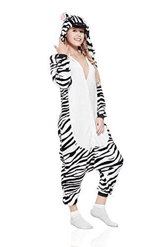 Adult Zebra Kigurumi Animal Onesie Pajamas Plush One Piece Cosplay Costume (Small, Black/White) (Zebra Costumes For Adults)