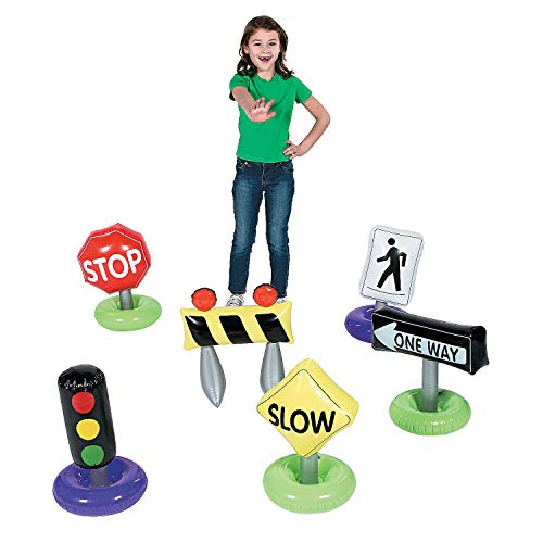 Fun Express - Incredible Inflatable Traffic Signs 6pcs - Toys - Inflates - Inflatable Decor - 6 Pieces]()