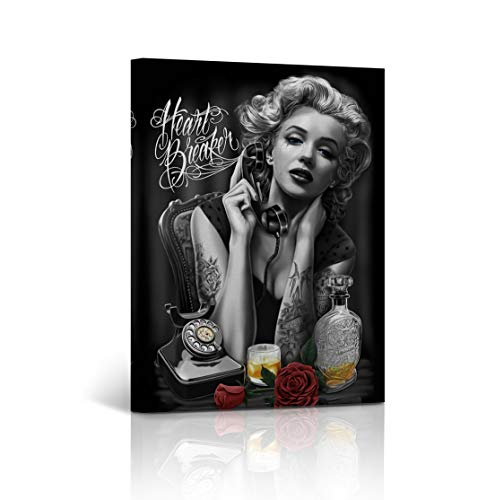 Buy4Wall Marilyn Monroe Wall Art Canvas Print Crying Picture Heart Breaker Digital Paint Decorative Modern Home Decor Artwork - Ready to Hang - Wrapped Wood Stretcher Bars -%100 Handmade in The USA