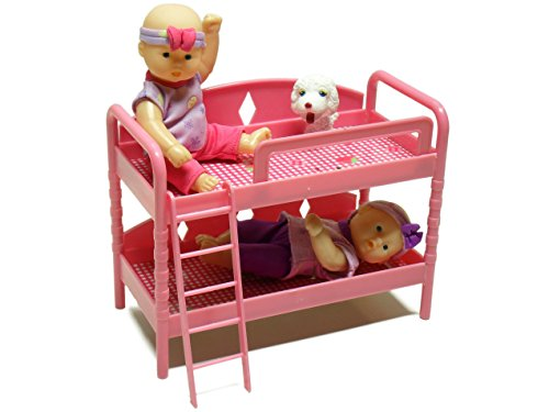 Bunk Bed Buddies Baby Girl Doll Playset by Lovee - 2 Dolls, 1 dog, Bunk Bed with Ladder