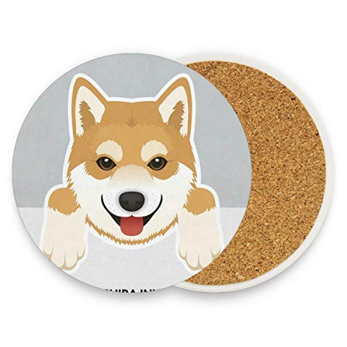 Walker Rover Range - Coasters for Drinks,Shiba Inu Dog Ceramic Round Cork Trivet Heat Resistant Hot Pads Table Cup Mat Coaster-Set of 2 Pieces
