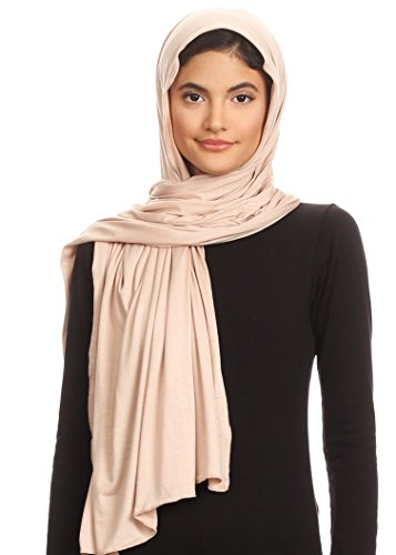 Abeelah Jersey Hijab Scarf - Made in the USA - Islamic, Muslim, African and Indian Fashion Compatible (Taupe)