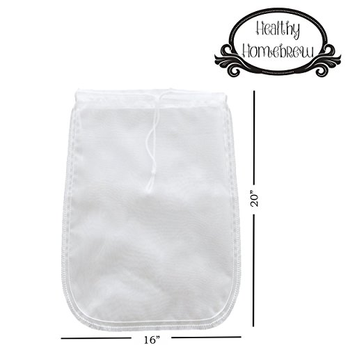 Mesh Strainer Bags for Almond, Cashew Nut Milks, Cold Brew Coffee, Homemade Greek Yogurt, Juicing, Home brewing – Reusable Extra Fine Nylon Extraction Sack (2 Pack - 16x20'' - XL) by Healthy Homebrew (Image #1)'
